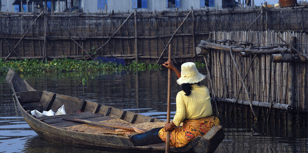 Lady on river in Siem Reap